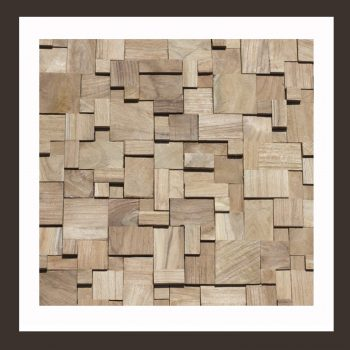Holz Verblender - 3D Teakholz Mosaik-Fliesen HO-011